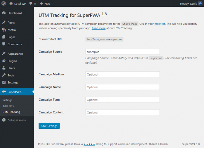 UTM Tracking Add-On for SuperPWA