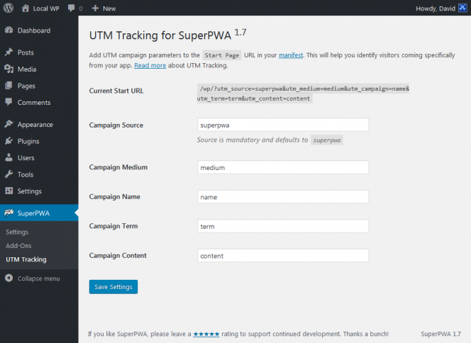 UTM Tracking For SuperPWA